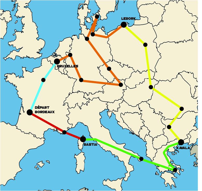 Carte Parcours de Marc Ternier lors de son extreme Triathlon en Europe